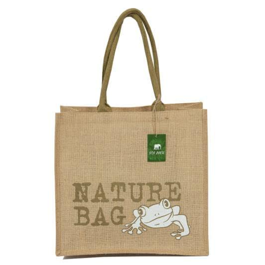 Тканини сумка шопер - Сумка джутова шоппер nature bag frog (ручка 53 см)