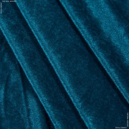 Тканини для суконь - Велюр стрейч темно-бірюзовий
