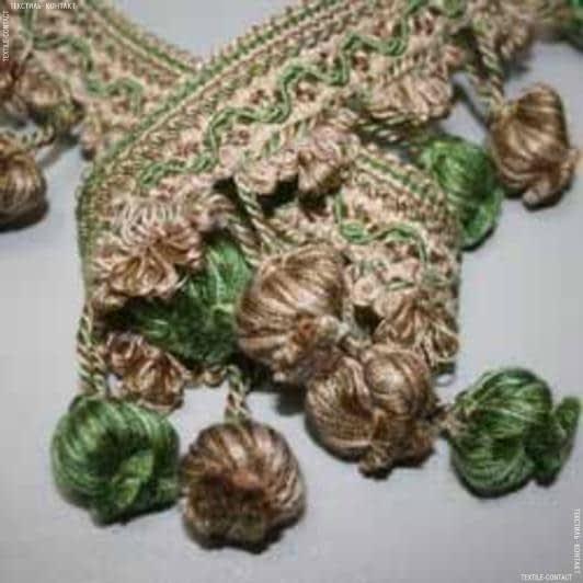 Тканини фурнітура для декора - Бахрома базель китиця беж-зелень