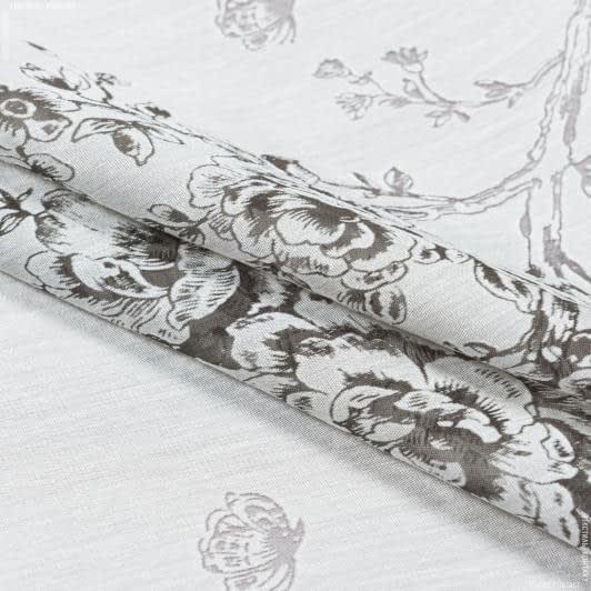 Ткани для тюли - Тюль выжиг с утяжелителем  розы бабочки   серый
