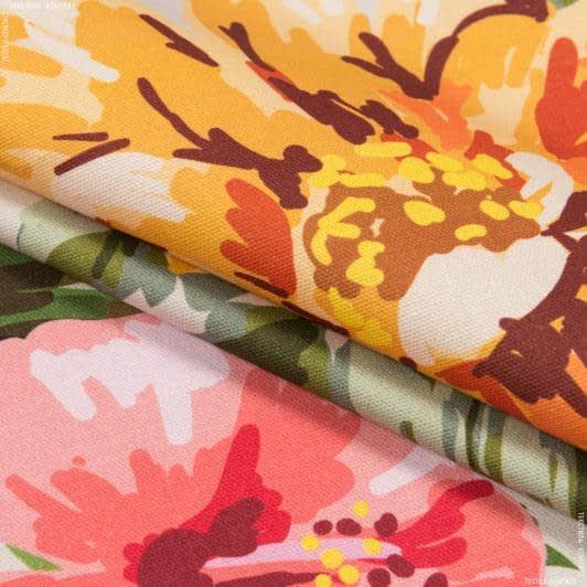 Тканини портьєрні тканини - Декоративна тканина квіти акварель корал