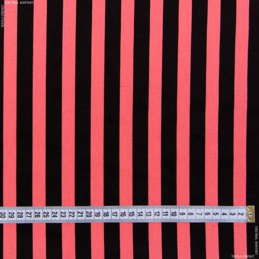 Тканини для штанів - Котон стрейч у смужку чорно-коралову