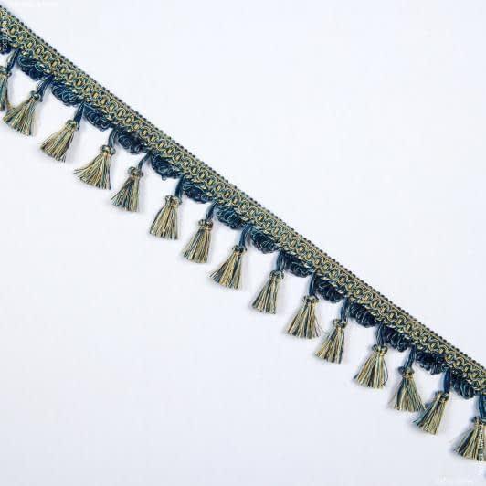 Тканини фурнітура для декора - Бахрома імеджен китиця синьо-блакит