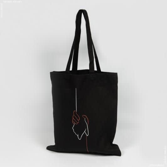 Ткани экосумка - Экосумка  саржа черная «Любов для кожного»  (ручка 70 см)