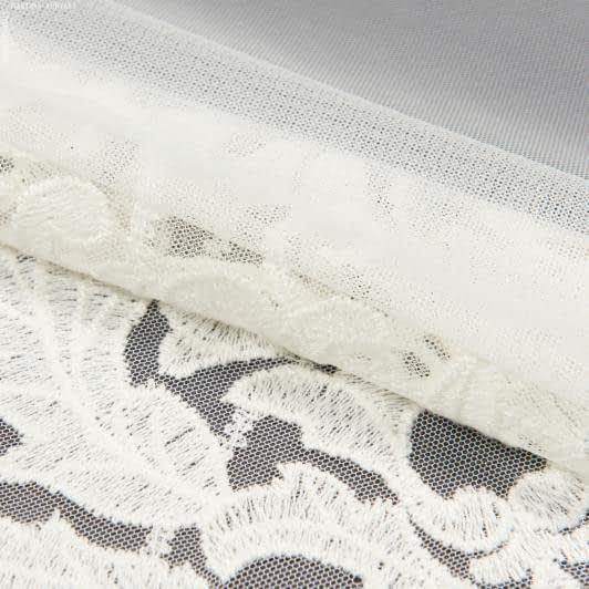 Ткани гардинные ткани - Тюль сетка вышивка юстина купон   молочный