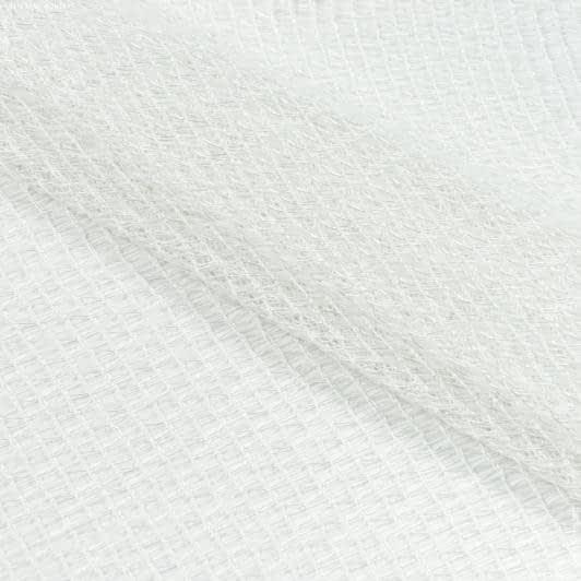 Ткани для рукоделия - Тюль сетка с утяжелителем  ГЛАФИРА молочный