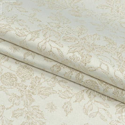 Ткани для декоративных подушек - Декоративная новогодняя ткань люрекс  гирлянда золото