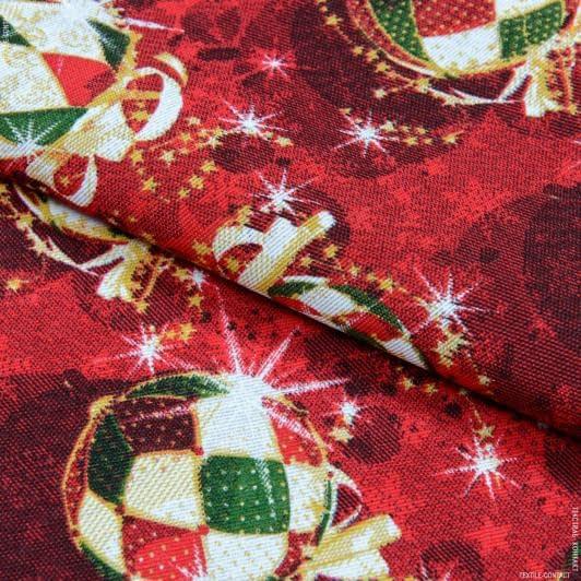 Ткани для декоративных подушек - Декоративная новогодняя ткань Лонета / Шарики, фон бордо