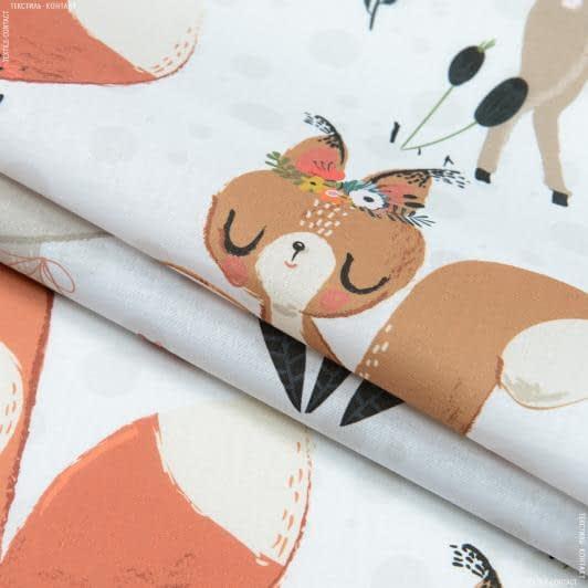 Тканини для дитячої постільної білизни - Декоративний котон Весна у лісі, фон білий