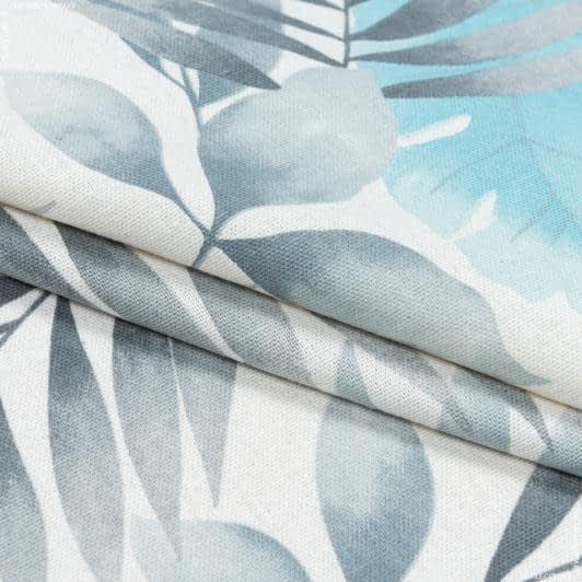 Тканини портьєрні тканини - Декоративна тканина листя богеміан сірий блакитний