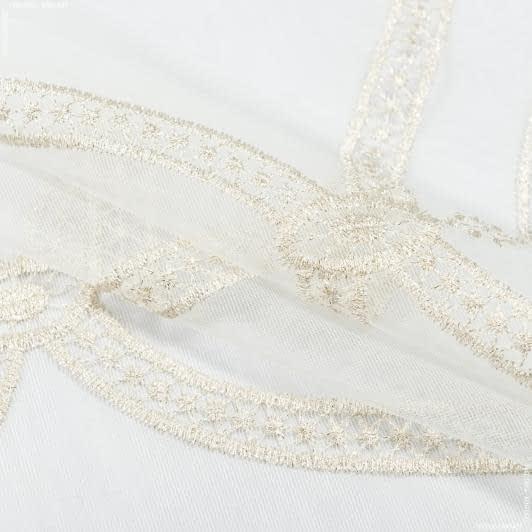 Ткани гардинные ткани - Тюль вышивка женева  молочный,люрекс золото