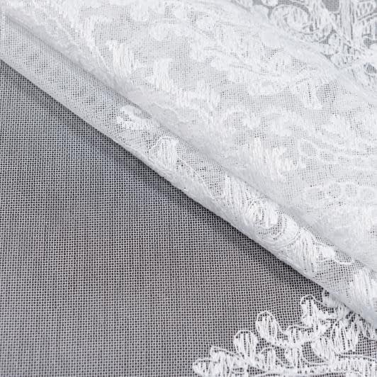 Ткани гардинные ткани - Тюль вышивка  виталина купон, белый