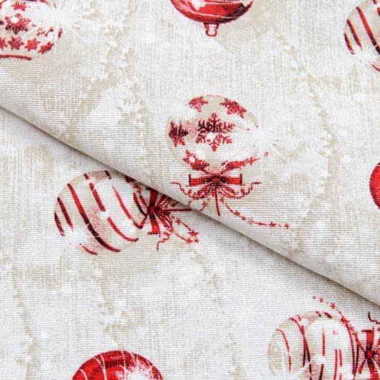 Ткани для декоративных подушек - Декоративная новогодняя ткань Лонета / Игрушки, беж