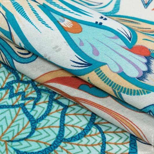 Тканини портьєрні тканини - Декоративна тканина Лонета Паола квіти/ paola синій