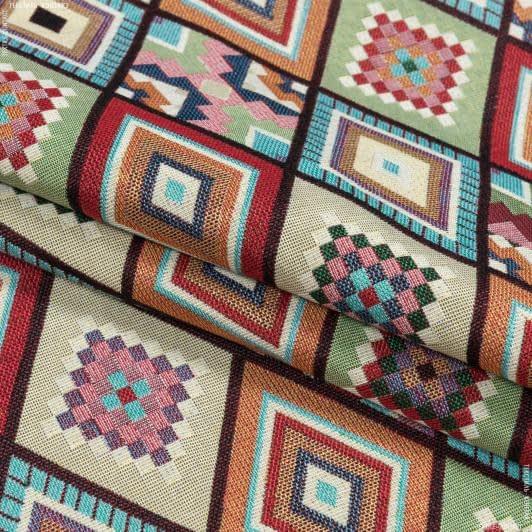 Тканини для декоративних подушок - Декор-гобелен орнамент дербісол/derbisol мультиколор