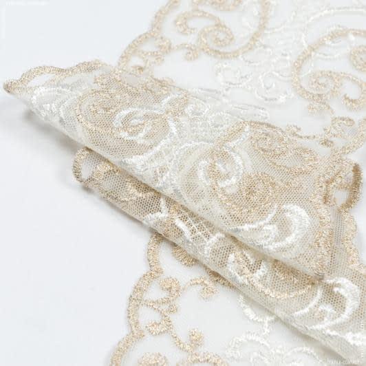 Ткани для пэчворка - Декоративное  кружево  ливия/  молочный, золото