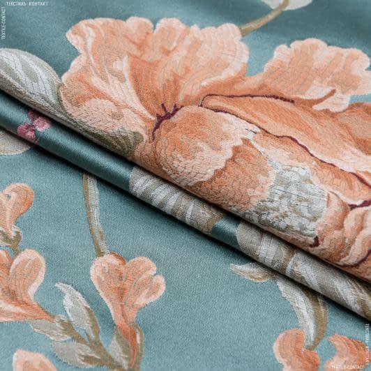 Тканини портьєрні тканини - Декоративна тканина палмі / palmi тон бірюза, оранж/рожевий