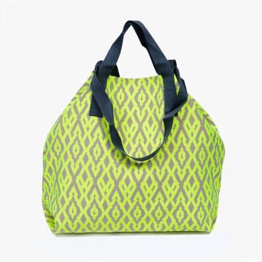 Тканини сумка шопер - Сумка шопер дайніс /ромб/  беж яскравий салатовий 50х50 см