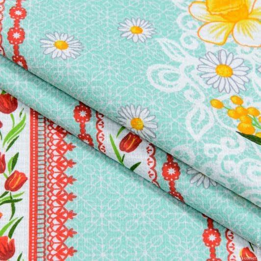 Ткани для полотенец - Ткань полотенечная вафельная набивная весение цветы бирюзовый