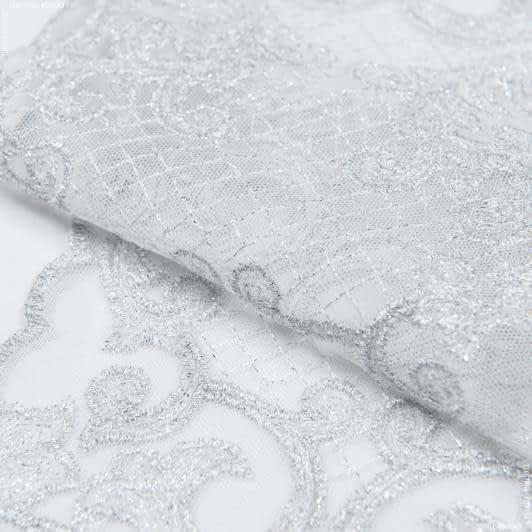 Тканини для печворку - Декоративне мереживо тельма срібло