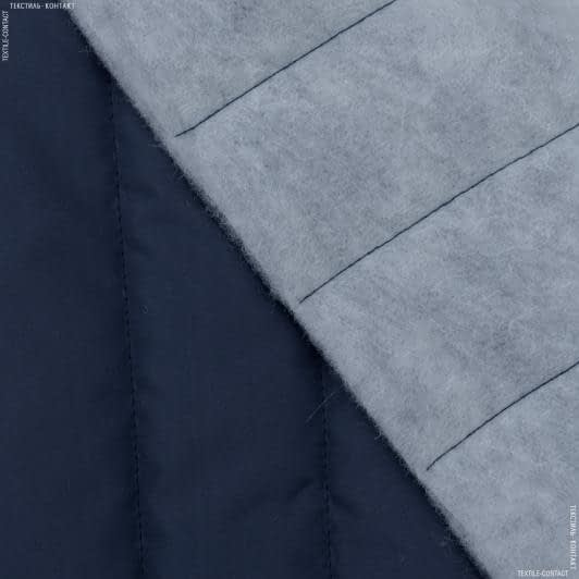 Тканини для верхнього одягу - Плащова фортуна стьобана з синтепоном темно-синій