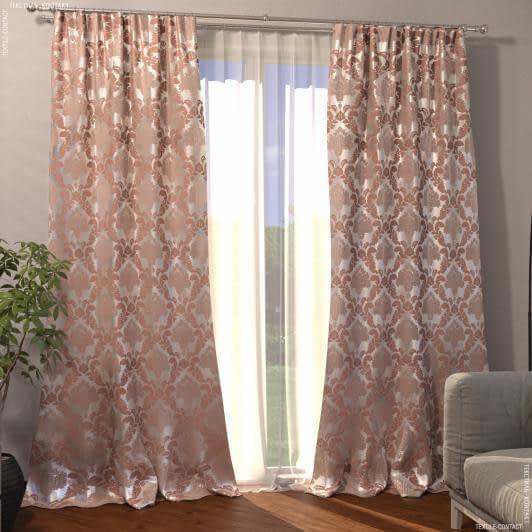 Тканини готові вироби - Декоративна штора жакард вензель/св.беж-рожевий