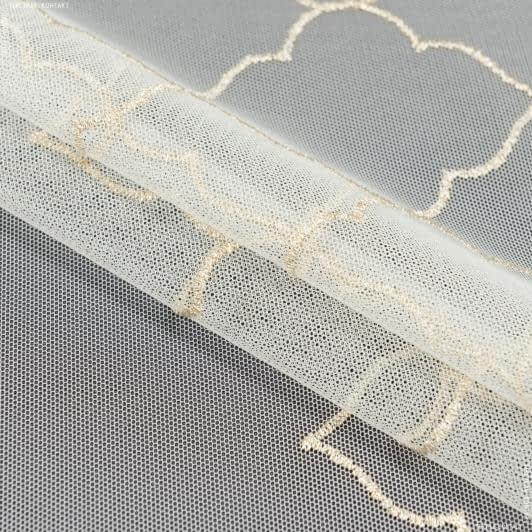 Ткани гардинные ткани - Тюль вышивка   агрос молочный   люрекс золото