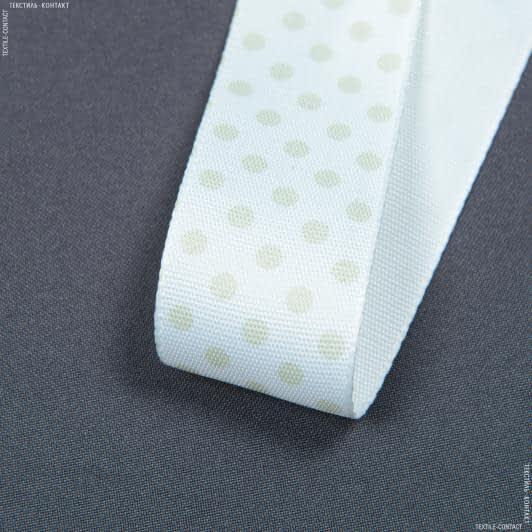 Ткани фурнитура для декора - Декоративная тесьма  ТЕРА горох  средний / TERA св.оливка, фон белый 37мм (25м)