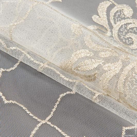 Тканини гардинні тканини - Тюль сітка вишивка кімі молочний, золото блиск