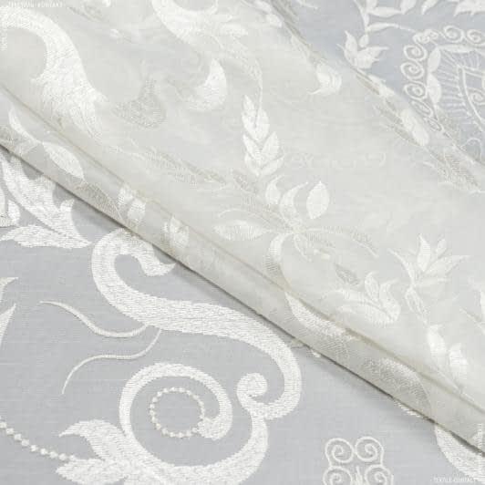 Тканини для тюлі - Тюль з обважнювачем мірала молочний купон / вишивка молочний