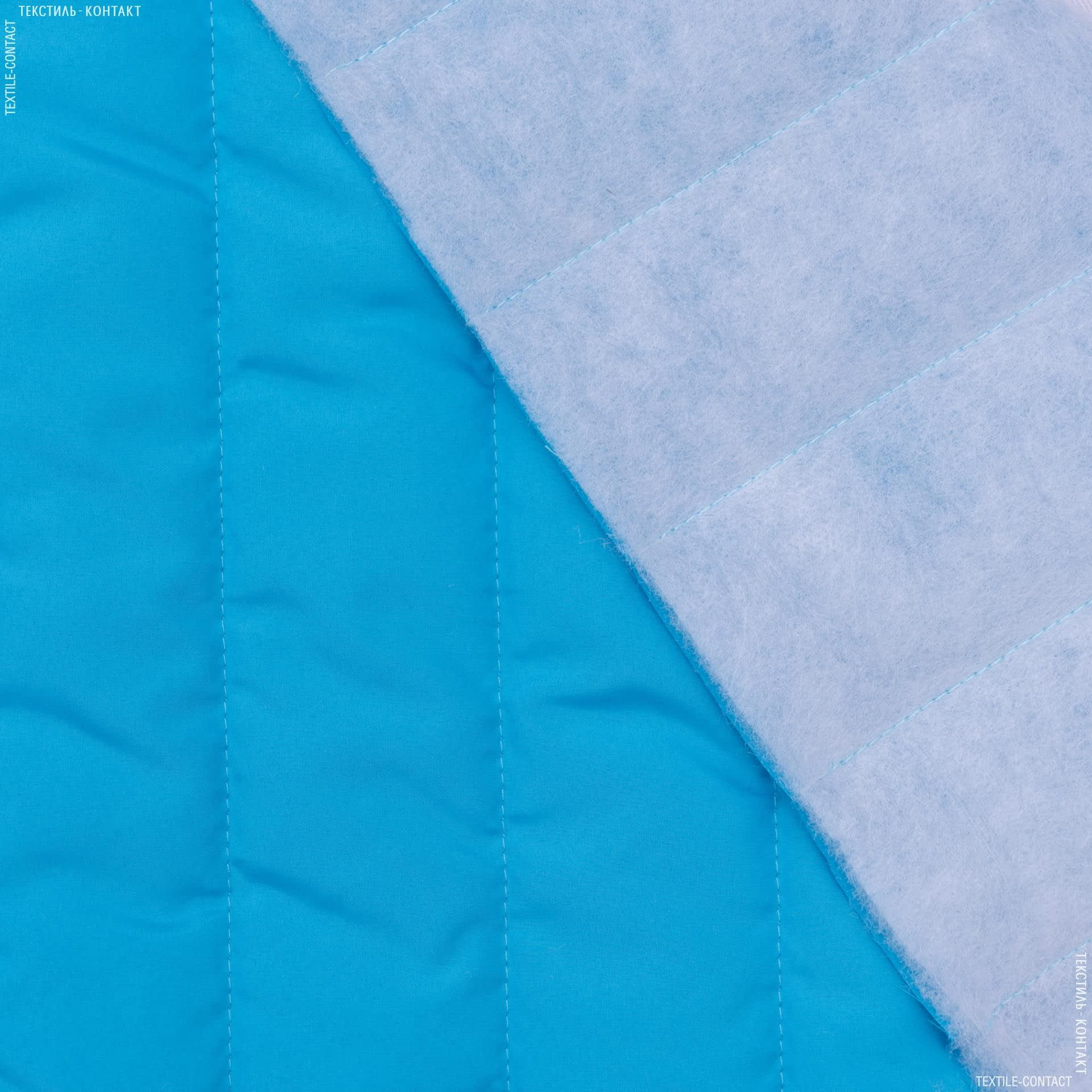 Ткани для верхней одежды - Плащевая фортуна стеганая ярко-голубой