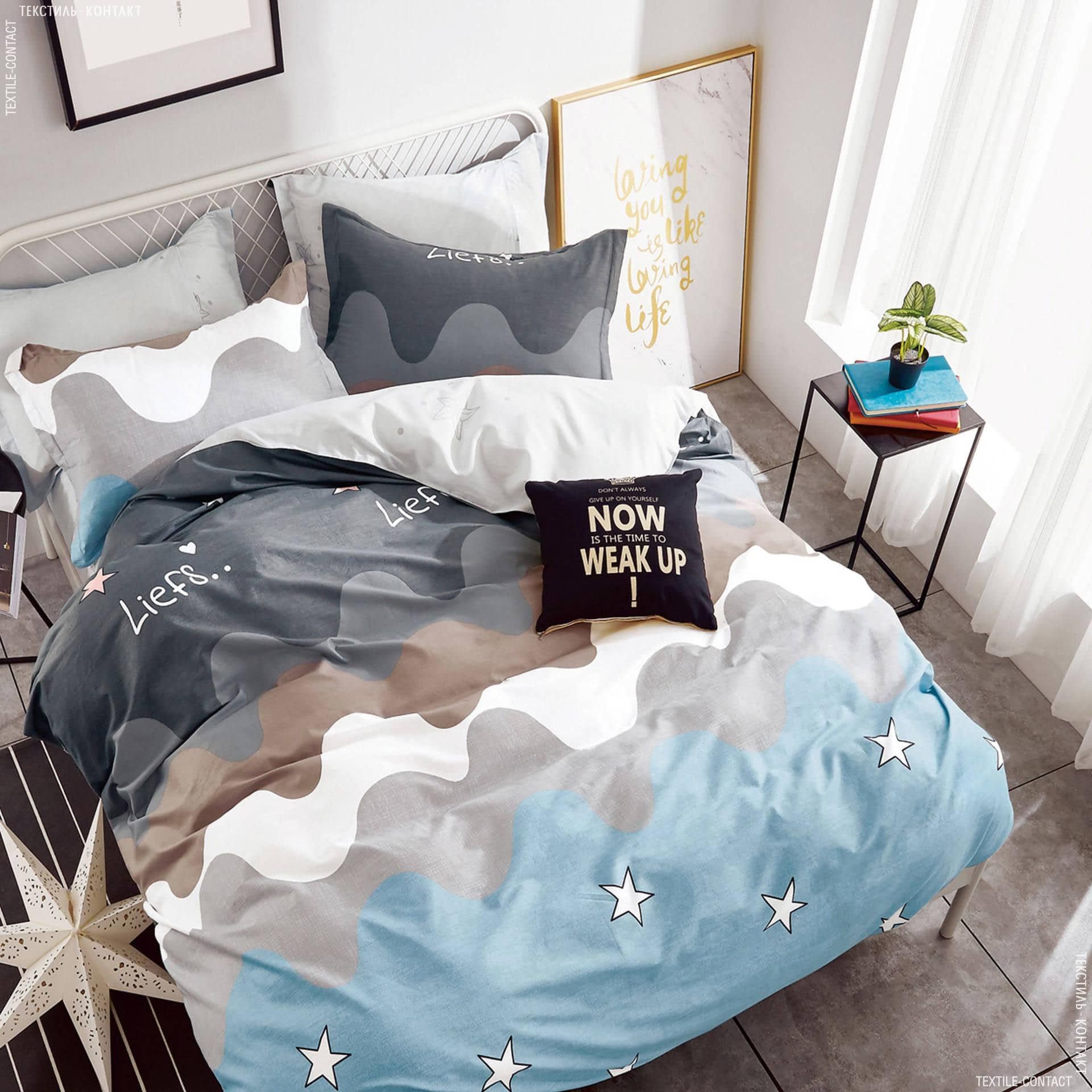 """Ткани комплект постельного белья - Полуторный комплект постельного белья  """"вейв"""""""