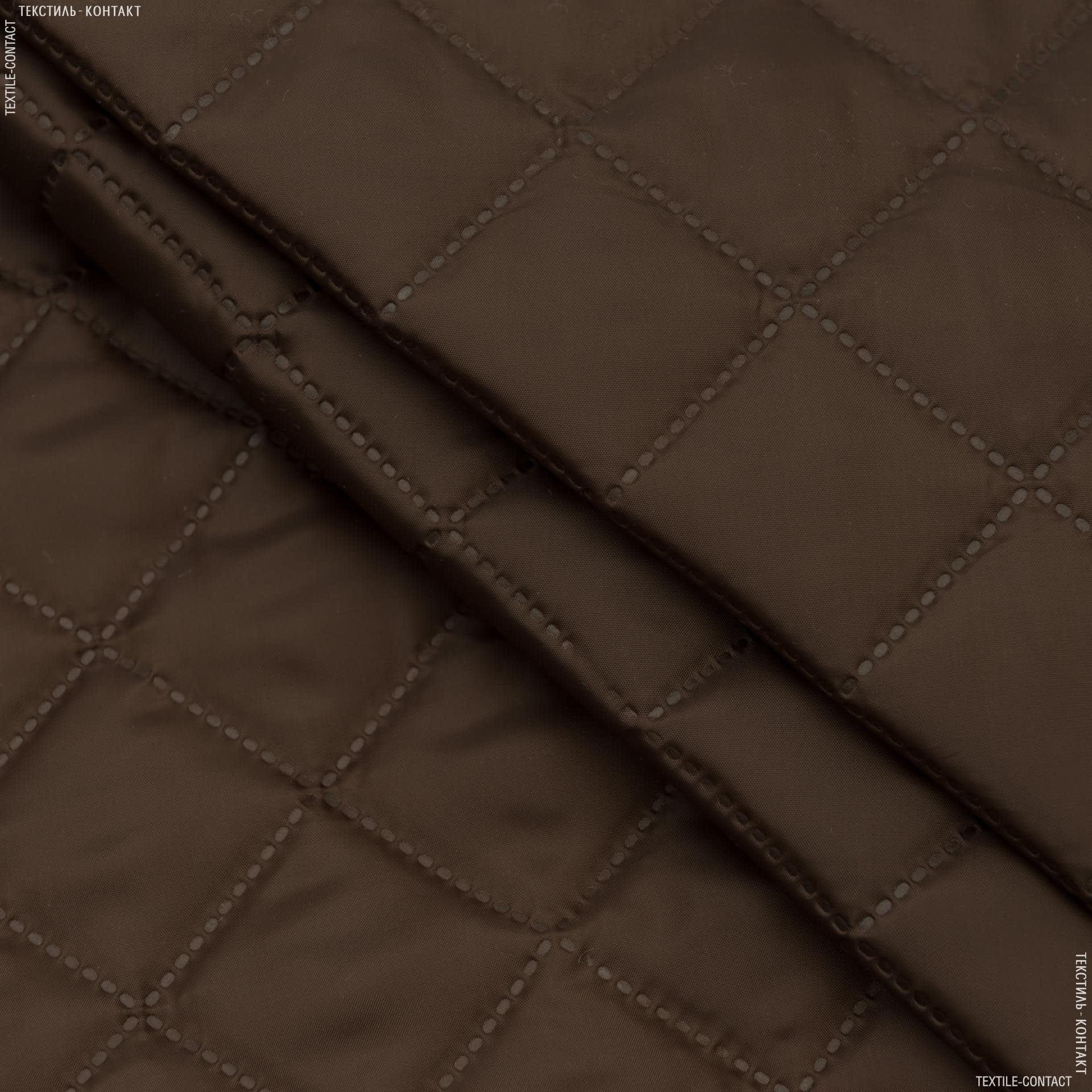 Тканини підкладкова тканина - Підкладка 190Т термопаяна  з синтепоном  100г/м  5см*5см коричневий