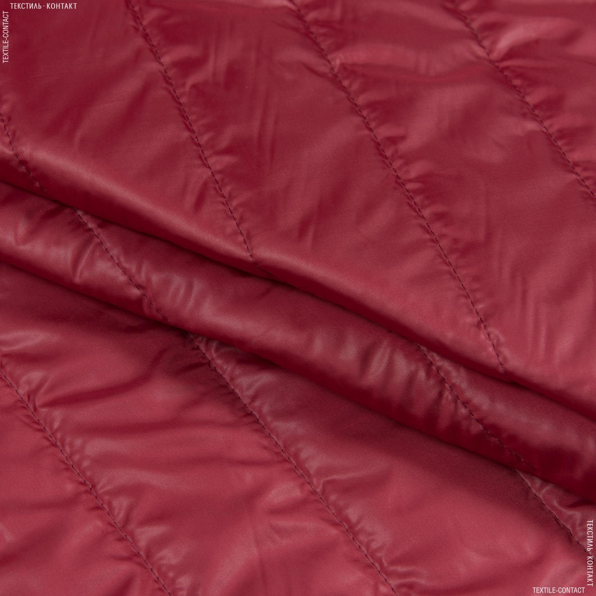 Ткани для верхней одежды - Плащевая руби лаке стеганая темно-красный
