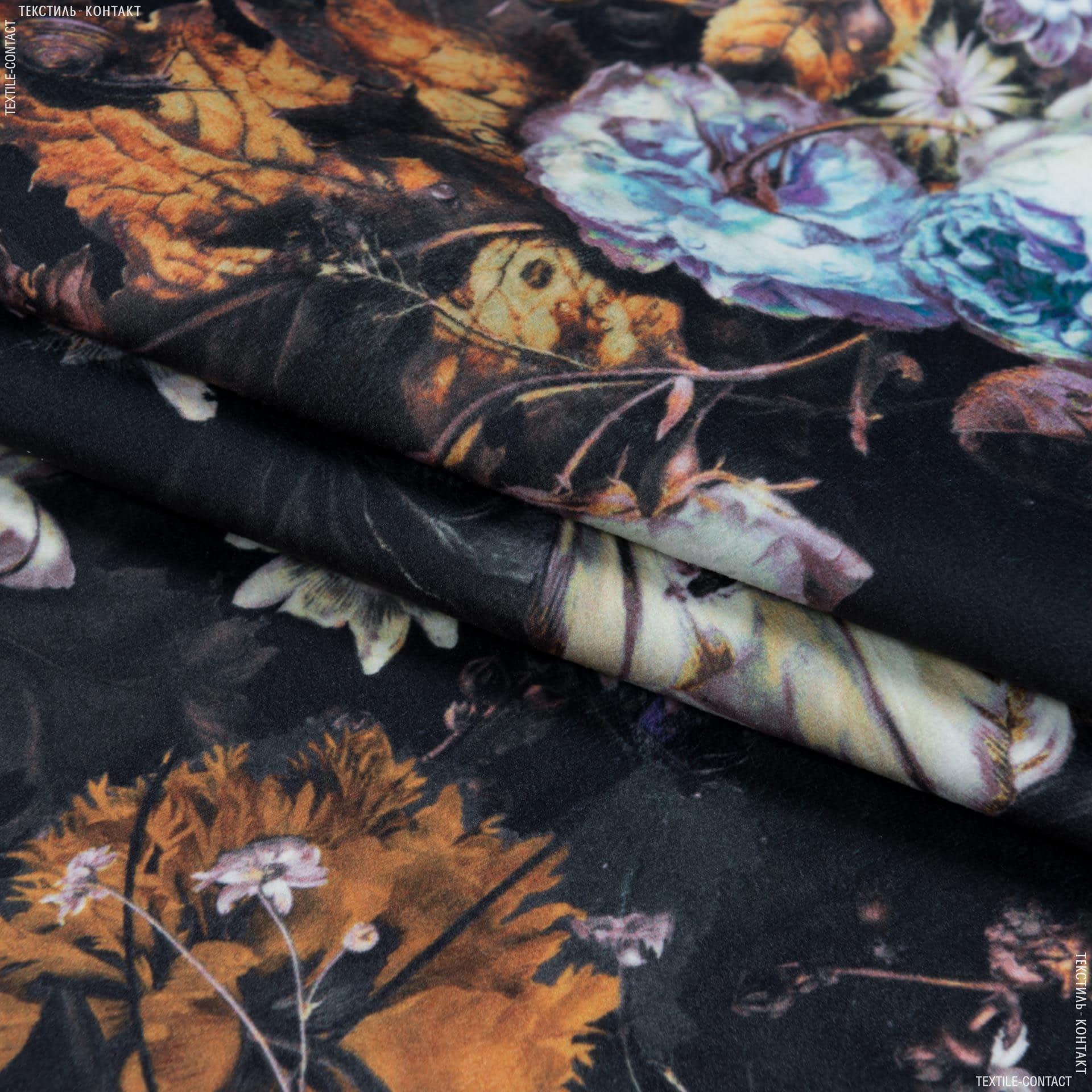 Тканини портьєрні тканини - Декоративна тканина ельбрус букет/ фіолет оранж