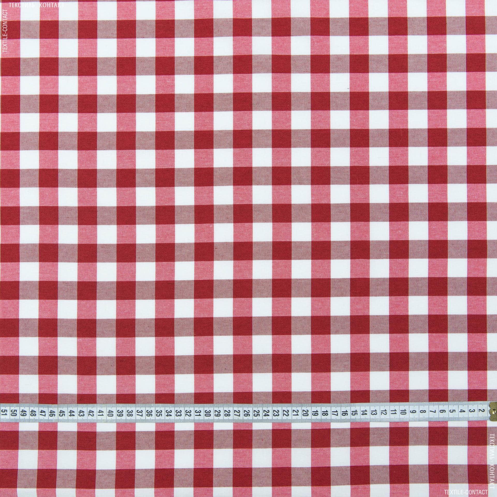Ткани для банкетных и фуршетных юбок - Ткань скатертная весна в клетку красная
