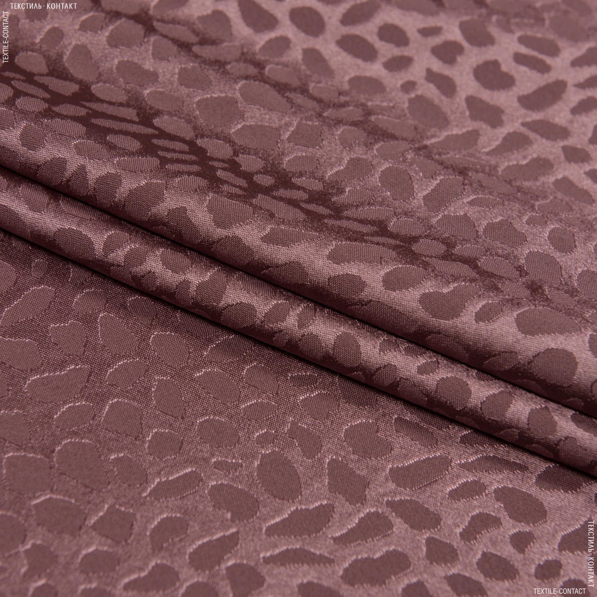 Тканини для суконь - Атлас лайт стрейч жакард темно-фрезовий
