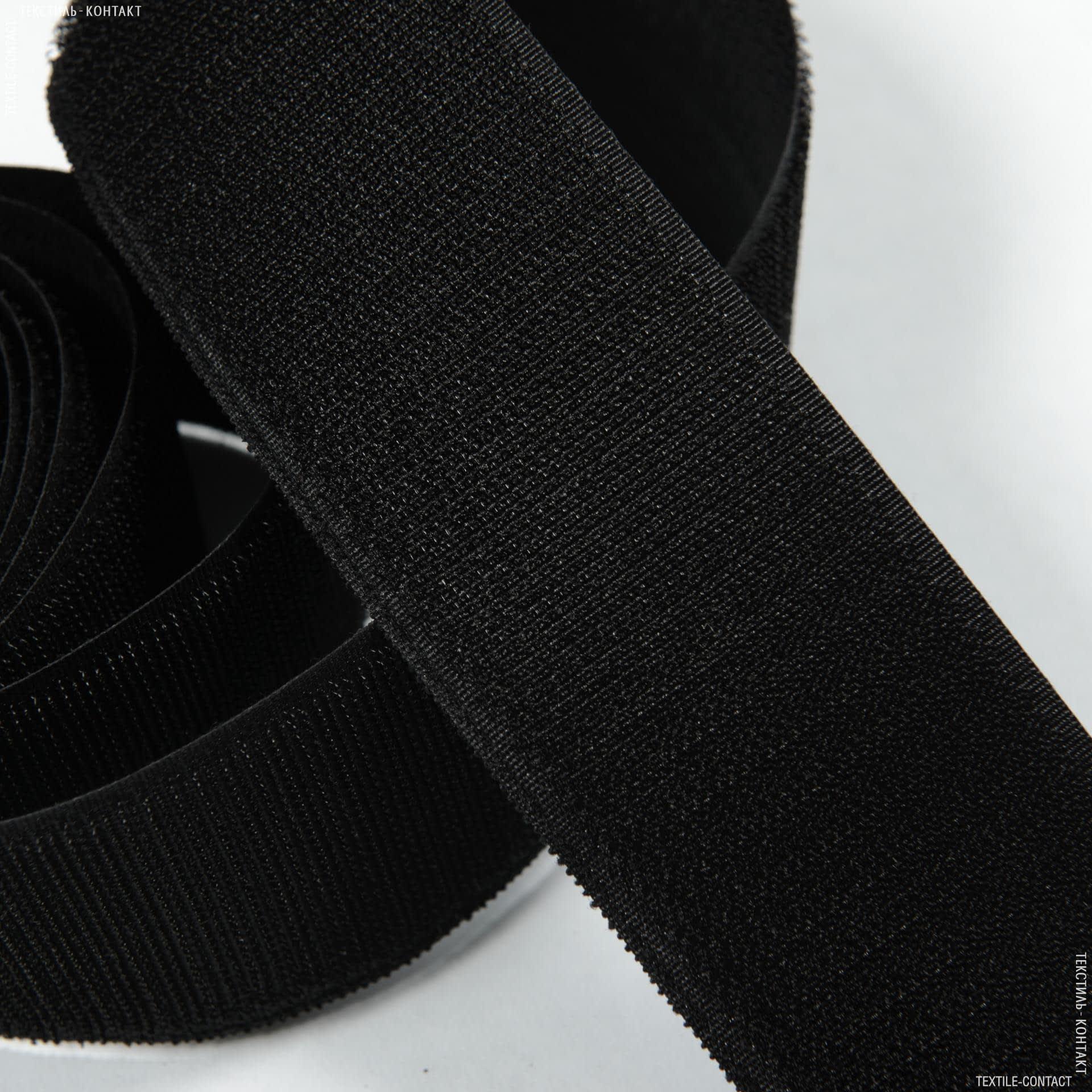 Ткани фурнитура для игрушек - Липучка  Велкро пришивная жесткая черная   50мм/25М