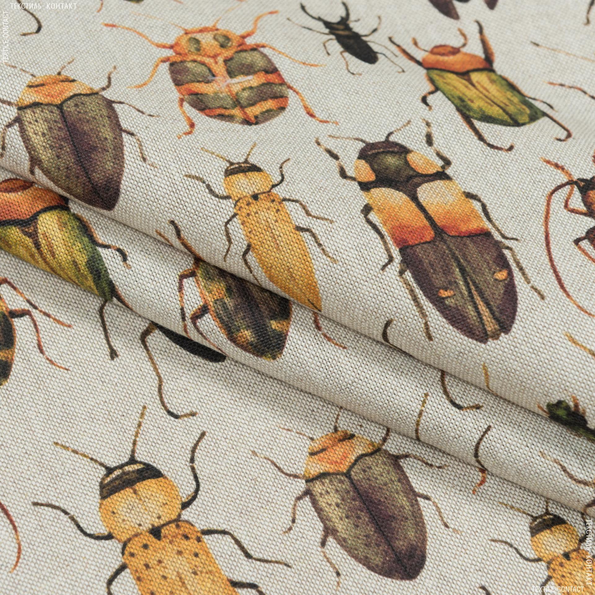 Ткани портьерные ткани - Декоративная ткань  насекомые /фон натуральный