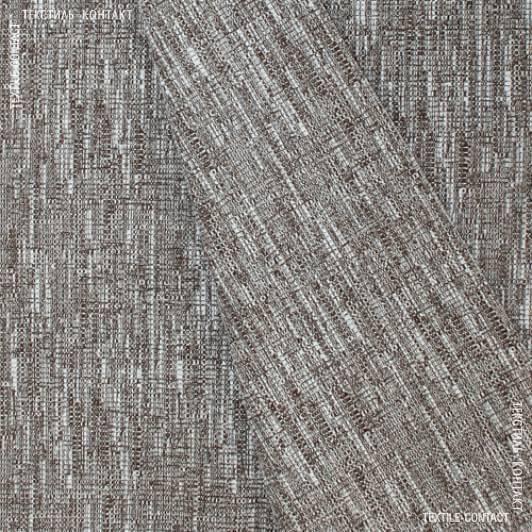 Тканини шенілл - Декор шеніл рогожка меланж Метро біло-коричневий