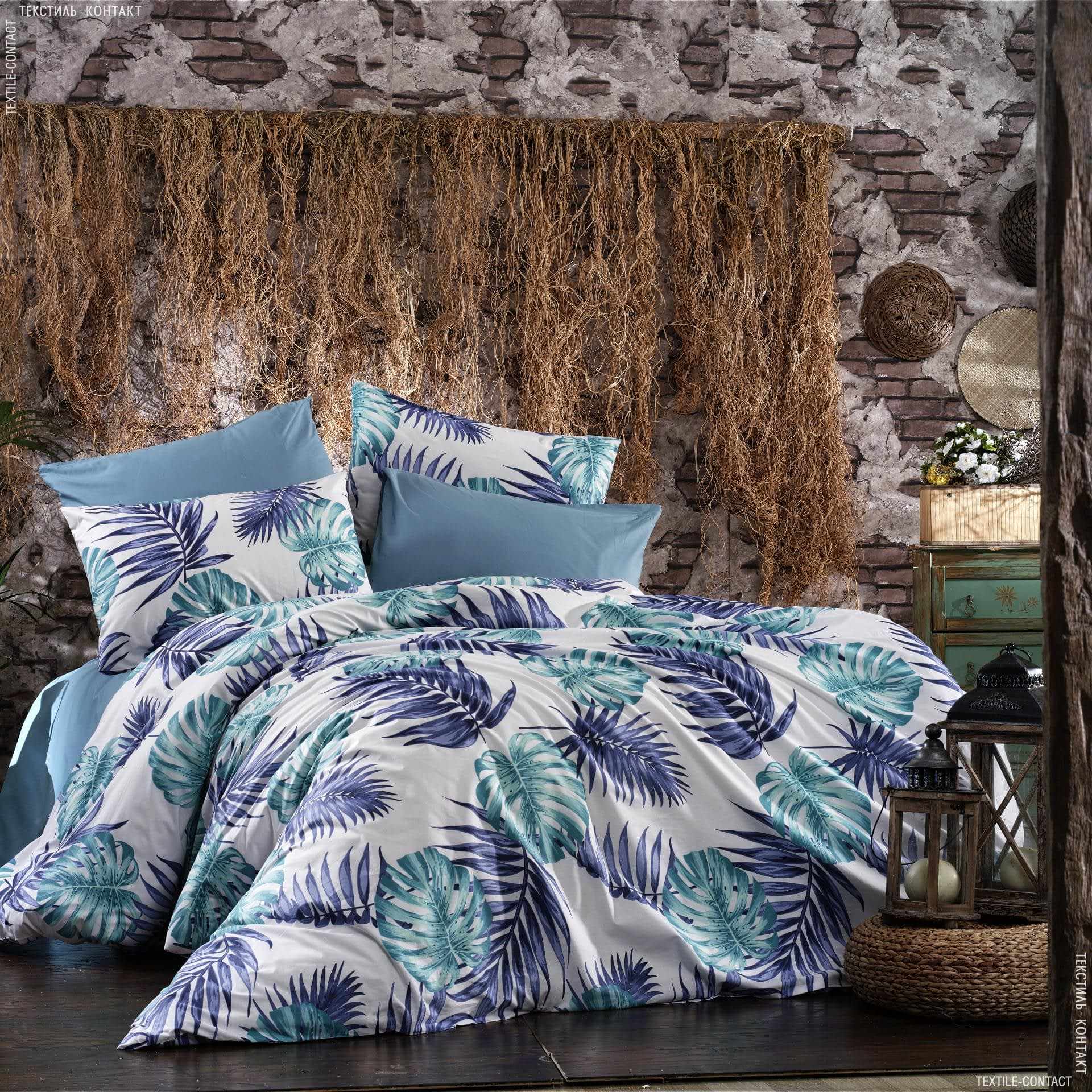 Ткани для постельного белья - Бязь набивная RENFORCE LUX листья