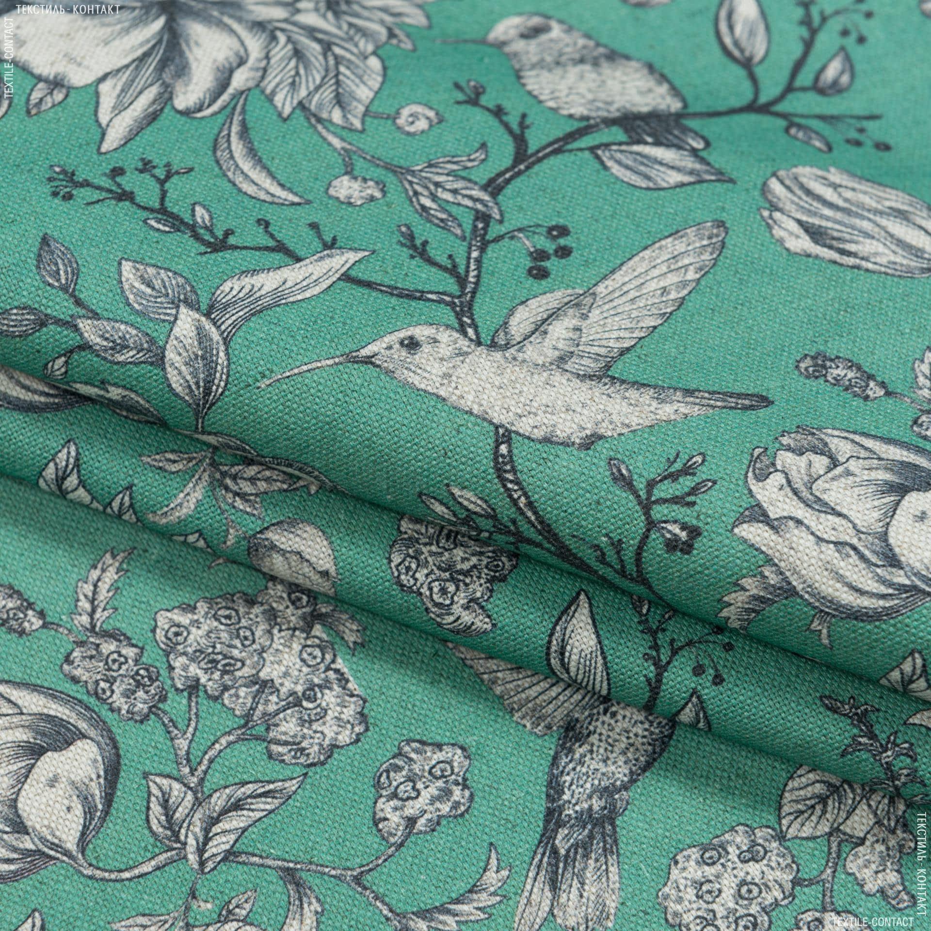 Ткани портьерные ткани - Декоративная ткань лужан цветы колибри зеленый