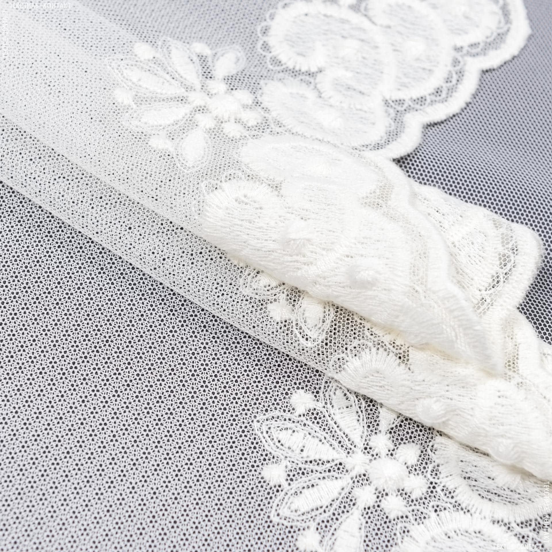 Ткани гардинные ткани - Тюль вышивка  камилла молочный