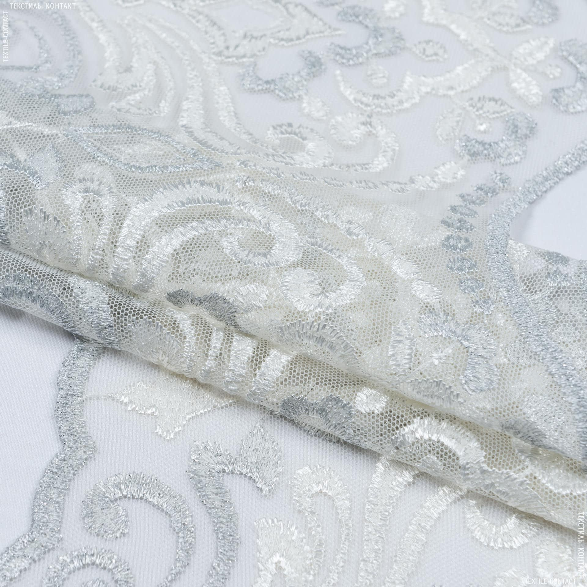 Тканини для печворку - Декоративне мереживо вазарі/ молочний - срібло 22 см