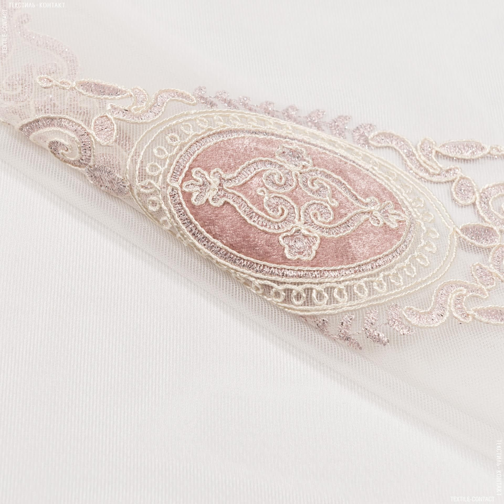 Ткани гардинные ткани - Тюль вышивка  фемида молочный,св.розовый с блеском