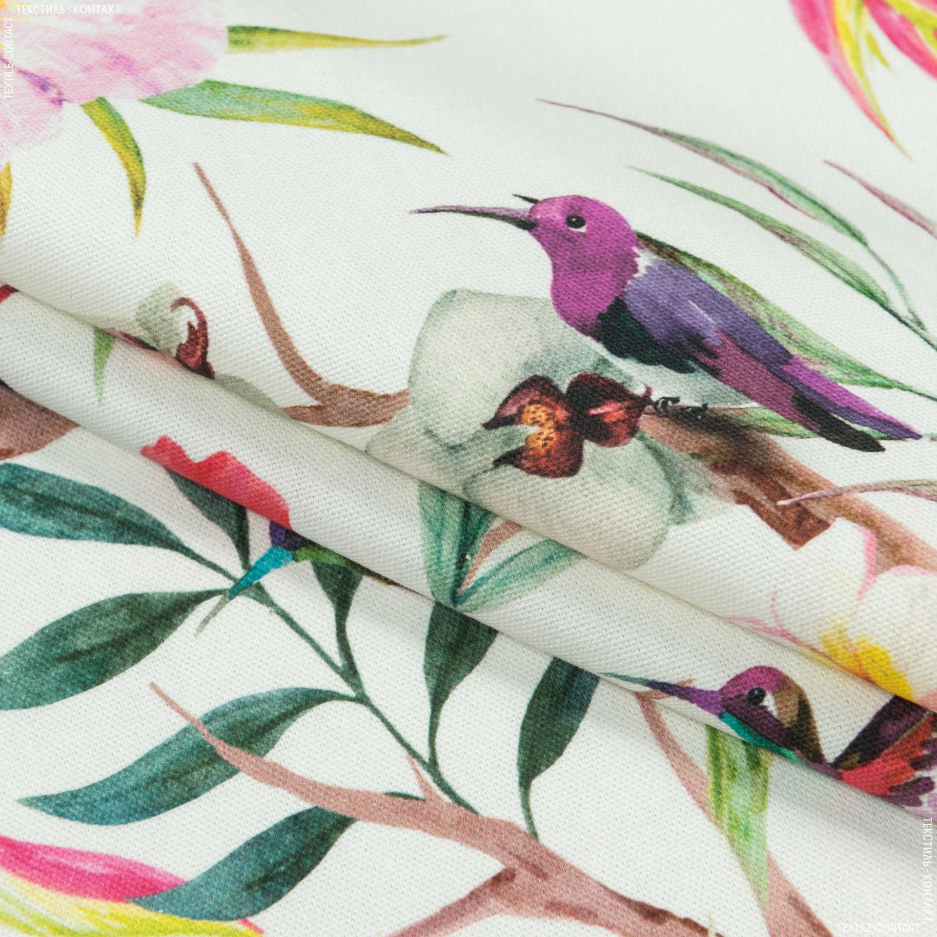 Тканини портьєрні тканини - Декоративна тканина самарканда/samarcanda колібрі, квіти рожевий
