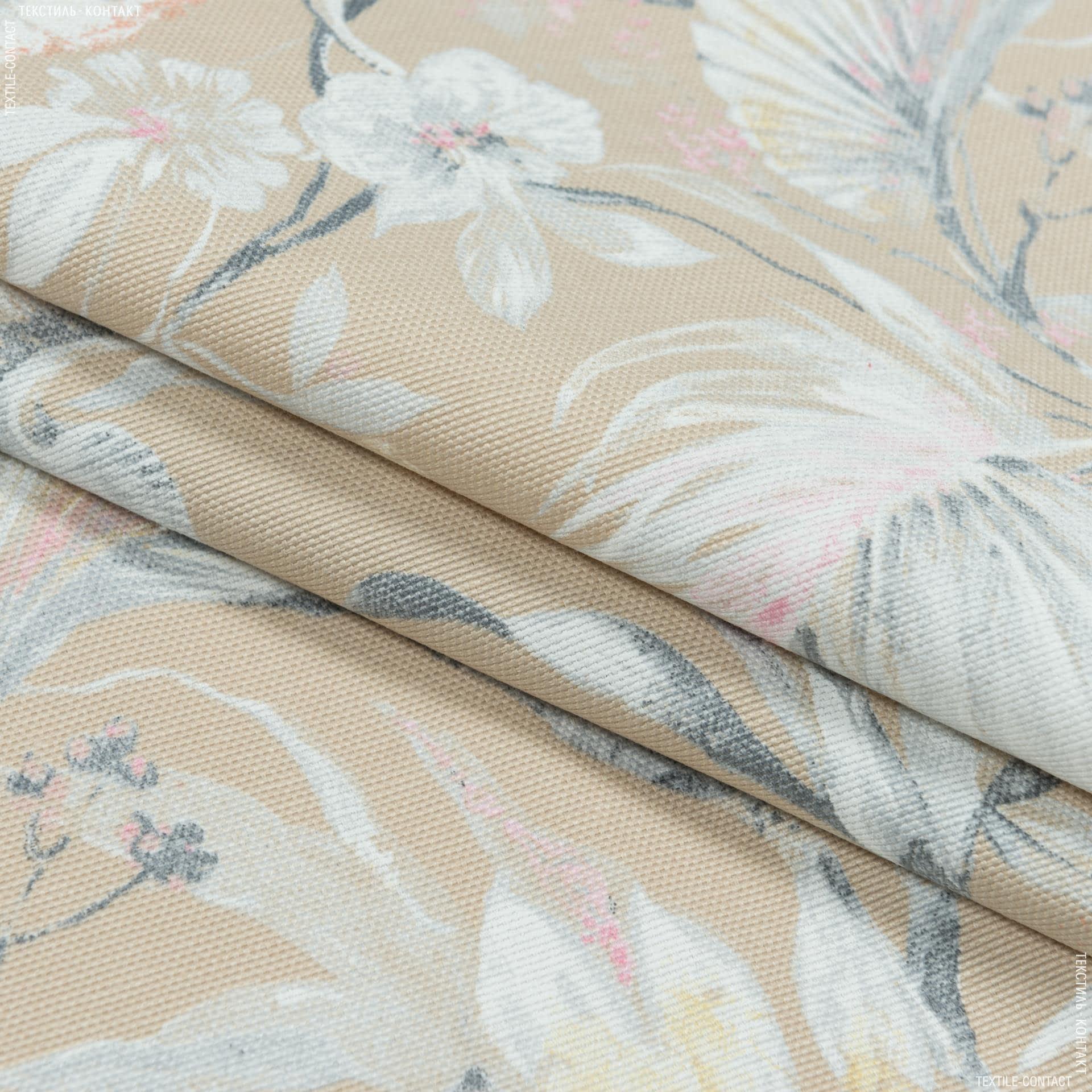 Ткани портьерные ткани - Декоративная ткань омбра цветы/ ombra  фон песок