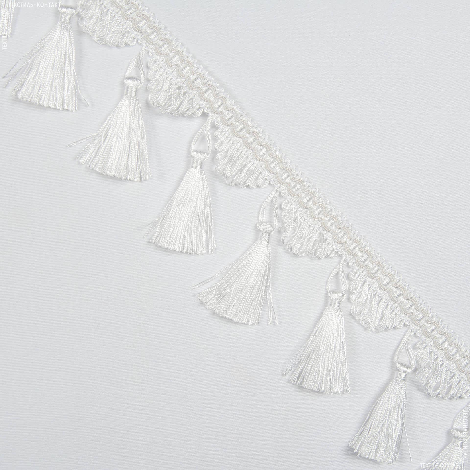 Тканини фурнітура для декора - Бахрома бріджит китиця біло-молочний