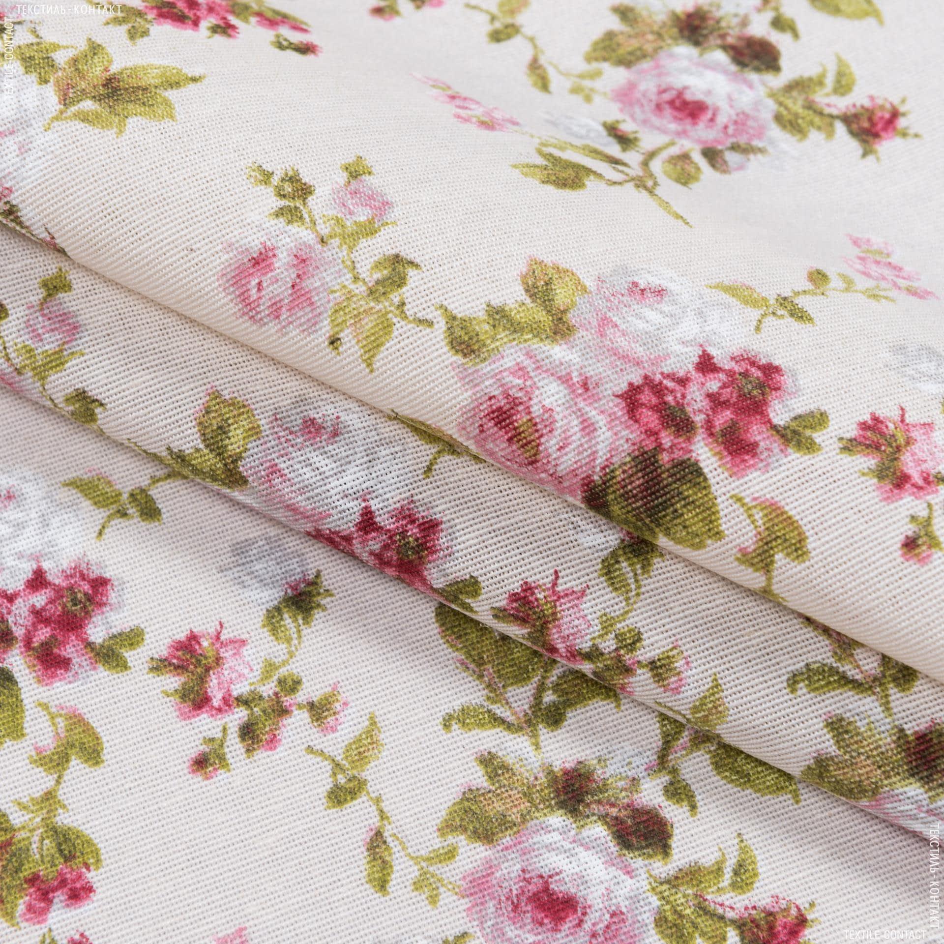 Ткани портьерные ткани - Декоративная ткань  лонета    Флорал / Floral  цветы мелкие гранат ,фон молочный