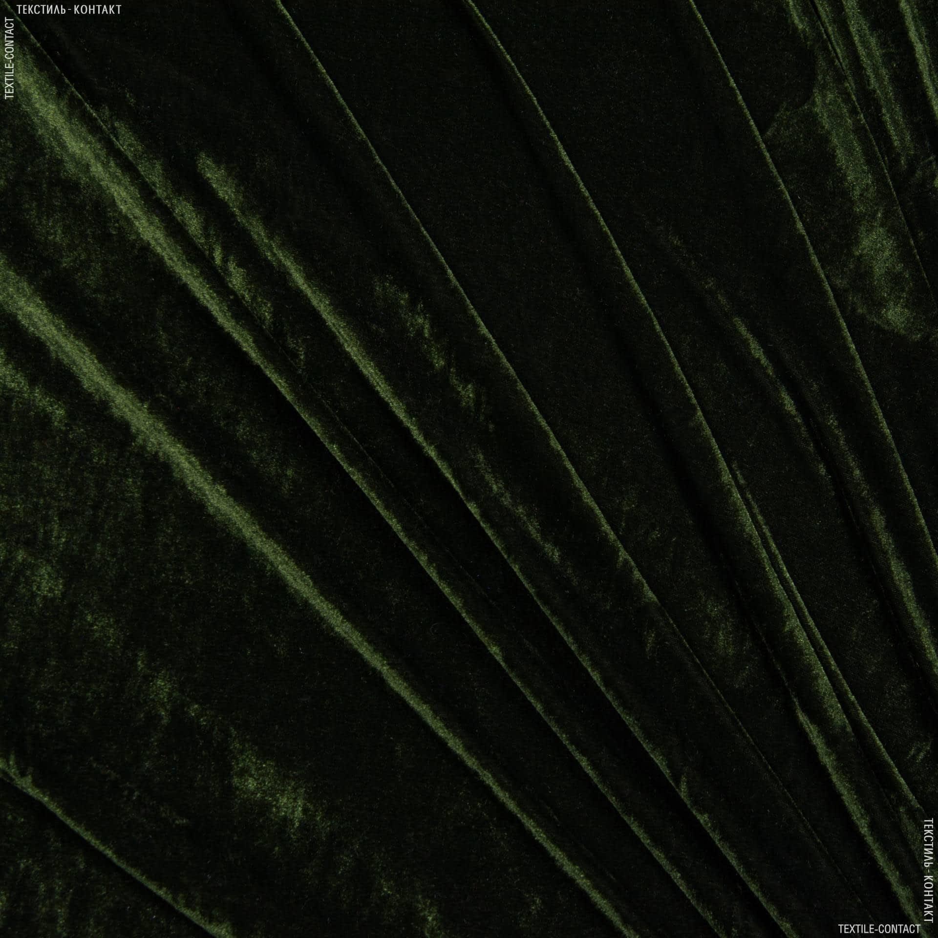 Ткани для платьев - Велюр стрейч  темный хаки